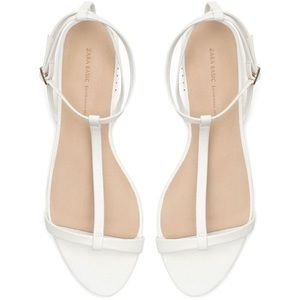 Zara White Studded Heel Strappy Sandals